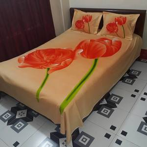Excellent Quality HD Panel Bedsheet - Orange Color