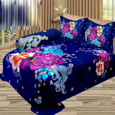 Ortha King Size Panel Bedsheet - Blue