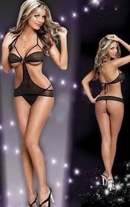 Lovebite Demi cup mini dress Twight Cut Out Teddie Black sexy lingerie teddy