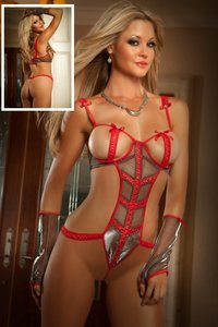 Lovebite OPEN BUST TEDDY Shimmery metallic mesh teddy lingerie