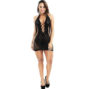 Lovebite Women Fishnet Halter Babydoll Mini Dress Elastic Erotic Lingerie