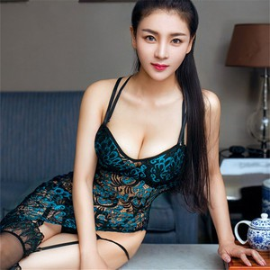 Lovebite Sexy Lingerie Hot Peacock Cheongsam Lace Dress + Thong + Sexy Silicone Stockings Nightgowns