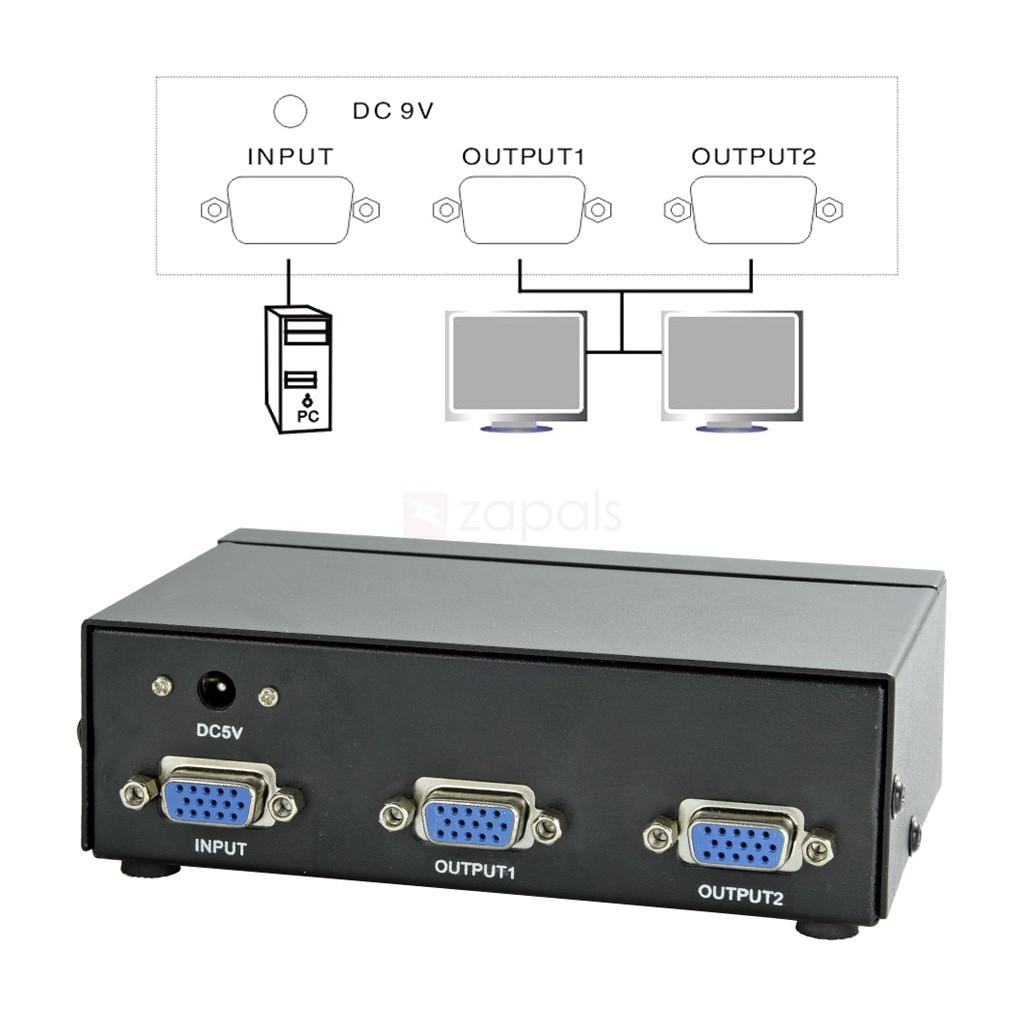 Vga Video Splitter 2port Extender 350mhz 1 In 2 Out Converter Port Spliter Ip Surveillance System Bd Ecom International