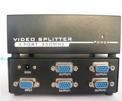 VGA Video Splitter - 4 Port High Resolution's MHz Split a single high resolution VGA video signal to 4 monitors or projectors
