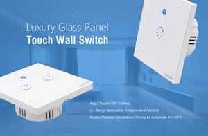 1 2 3Gang 1 Way Wifi Wall Switch Wireless Remote Light RF/ App Touch Control Wifi Smart Switch Work with Alexa