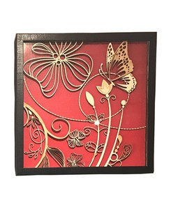 Floral Wood Curving (Red Background)