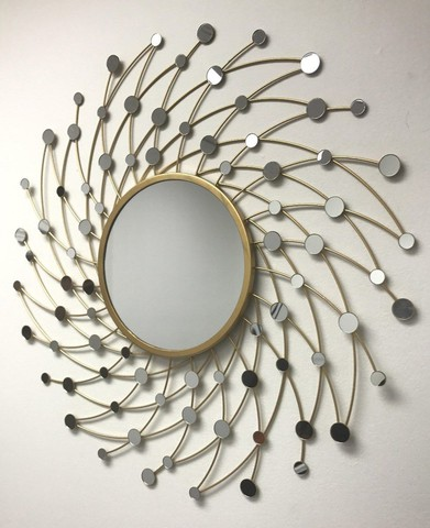 Swirl Sunburst Wall Mirror Golden Finish