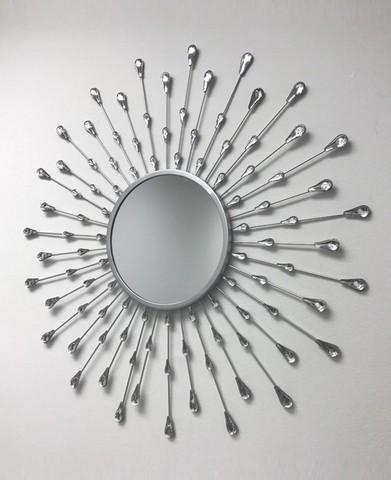 Decorative Starburst Mirror (Silver)