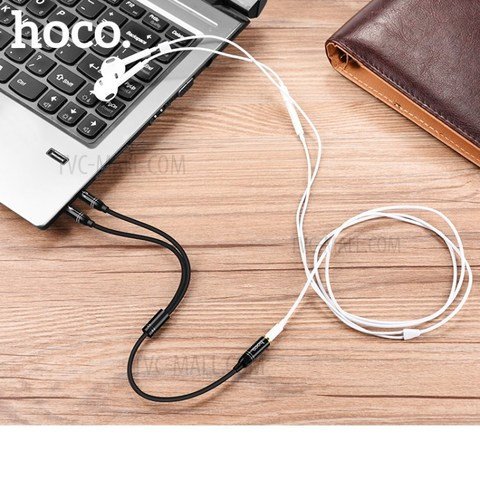 HOCO UPA07 3.5mm Female to Two 3.5mm Male Ports Audio Converter Splitter Cable for Computer