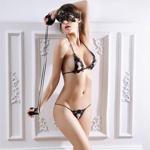 Lovebite 4pcs Set Women Bra Set Sexy Mask + Hand Circle + Bra Brief Sets