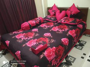 Ortha 8 pieces bedcover set - king size - Black Red