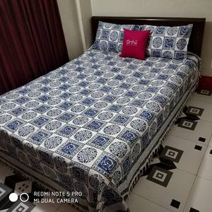 King Size Khadi Bedsheet With Two Pillow Covers- Blue, White