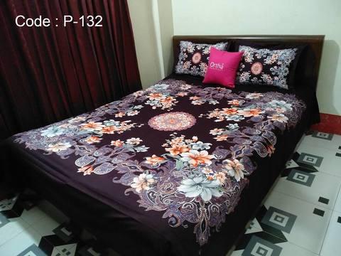 Ortha King Size Panel Bedsheet - Chocolate Coffee