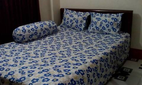 Ortha Blue White Flora Printed Cotton Double Size Bedsheet