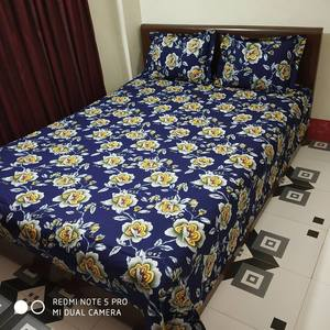 Ortha Navy Blue Flora Printed Cotton Double Size Bedsheet
