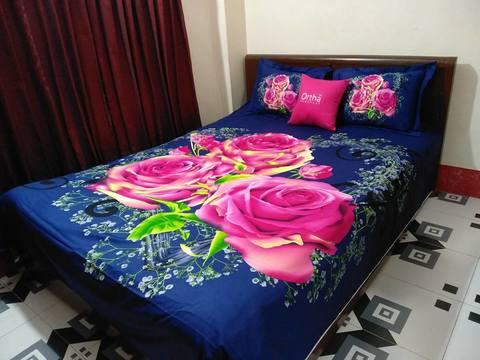 Ortha King Size Panel Bedsheet - Blue