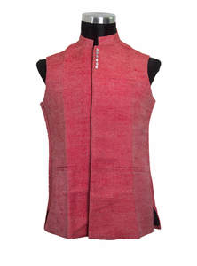 Old Rose Red Jute Gents Koti