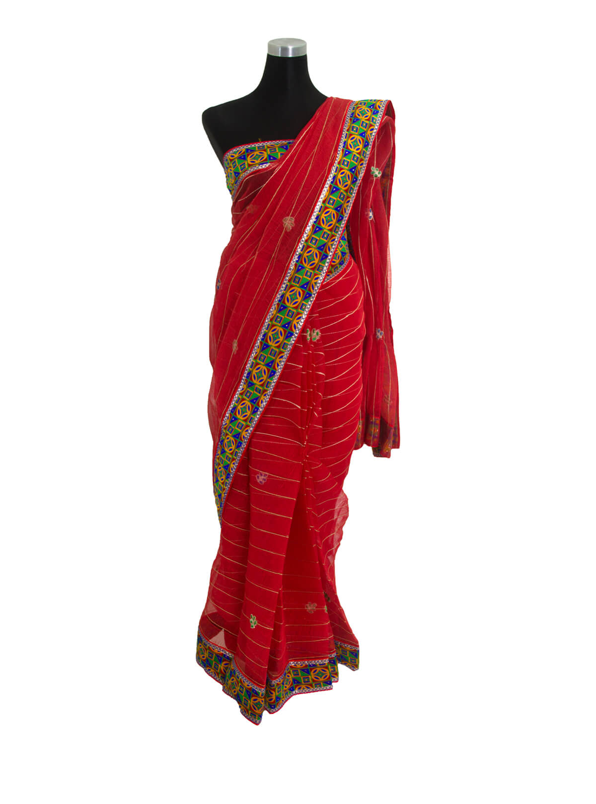 Carmine Red Jute Saree