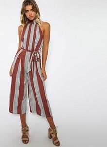 Lovebitebd Vertical Striped Wide Leg Romper Jumpsuit For Women