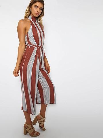 Lovebite Elegant Vertical Striped One Piece Linen Wide Leg Jumpsuit