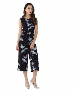 Lovebitebd Crane Print Romper Jumpsuits For Women