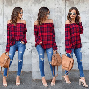 Lovebitebd Cotton Off Shoulder Plaid Long Sleeve Shirts For Women