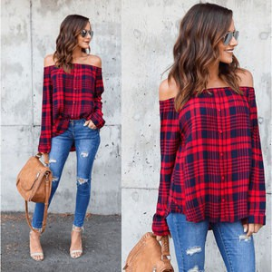Lovebite Women's Ladies Cotton Off Shoulder Blouses Plaid Tops Long Sleeve Shirts