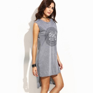 Lovebitebd Circle Print High Low Slit Tank Tops For Women