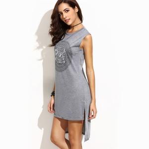 Lovebite Circle Print High Low Slit Tank Dress