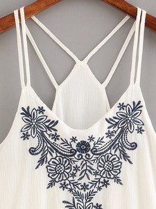 Lovebite Women Flower Embroidered Strappy Sleeveless Tank Tops
