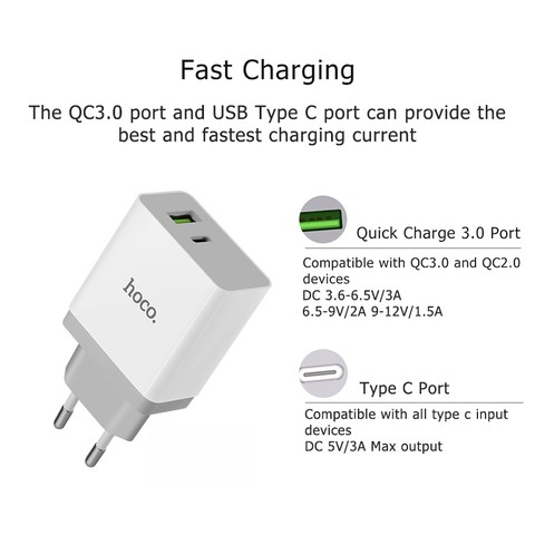 HOCO USB & Type-C Quick Charge 3.0 Fast Charger 2-in-1 Portable Travel Universal Mobile Phone Wall Charger
