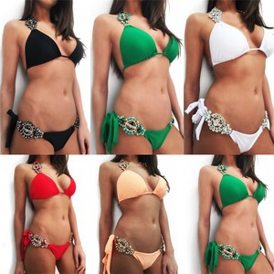 Lovebite Push Up Padded Swimsuit Sequin Swimwear Biquini Low Waist Triangle Bathing Suit