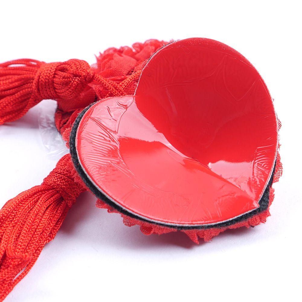 Lovebitebd Sequin Nipple Covers With Tassels Heart Shape -9965