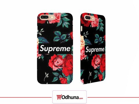 Supreme Phone Back Cover (Black Floral)