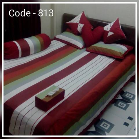 Ortha 8 pieces bedcover set - king size - Red Maroon