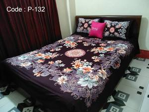 Ortha King Size Panel Bedsheet - Chocolate Coffee