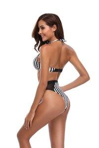 Lovebite Women Bikini Set Push Up Striped Swimwear