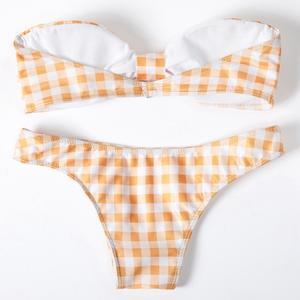 Lovebite Women Bikini Set Swimwear Push-Up Padded Plaid Off Shoulder Swimsuit