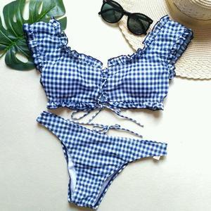 Lovebite Plaid Printed Padded Push-up Bikini Swimsuit Bathing Two Pieces Swimwear