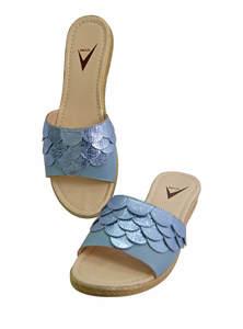 Horizon Blue Ladies Leather Sandal