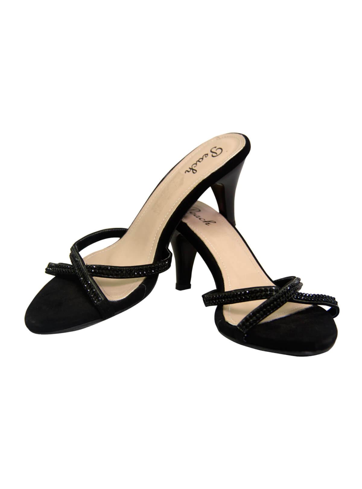 Black Leather Heel Ladies Sandal