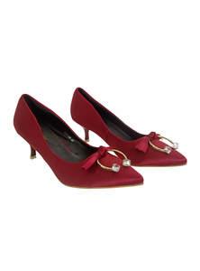 Falu Red Leather Ladies Heel Pump Shoe