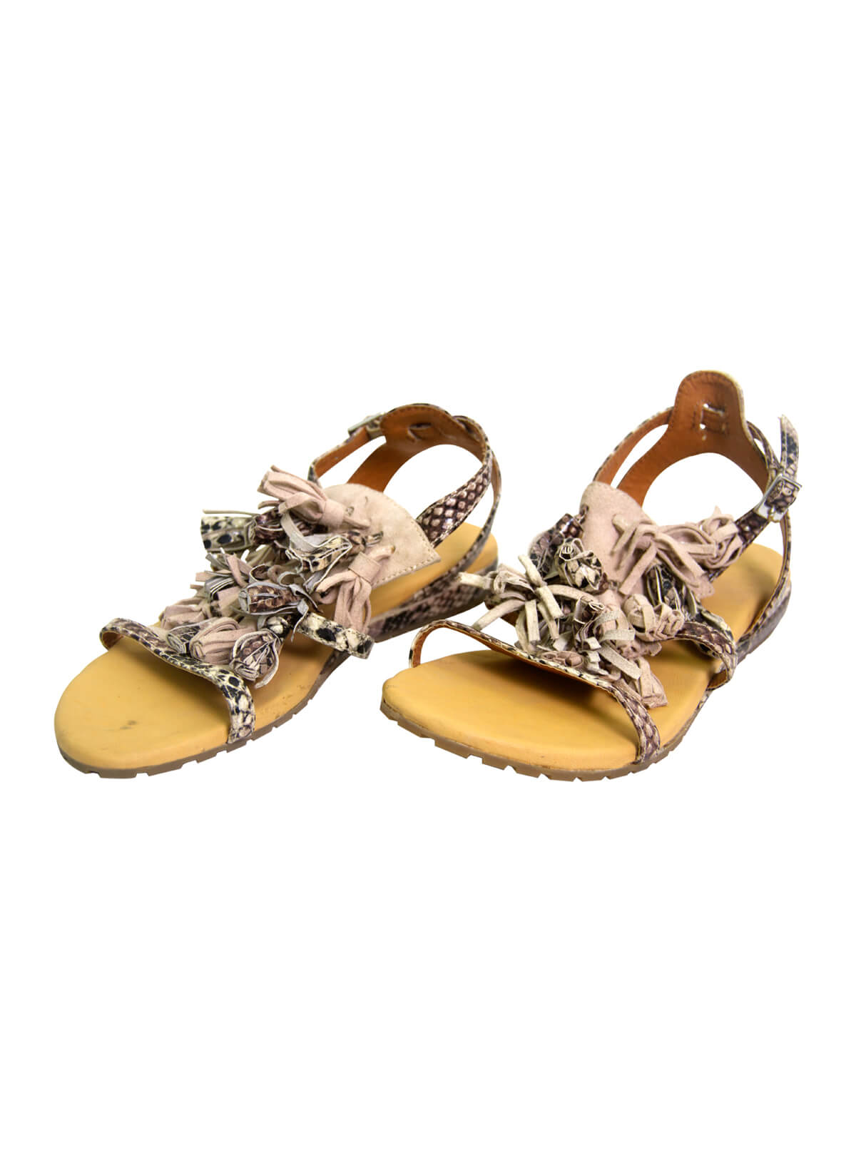 Casablanca Yellow Leather Flat Ladies Sandal