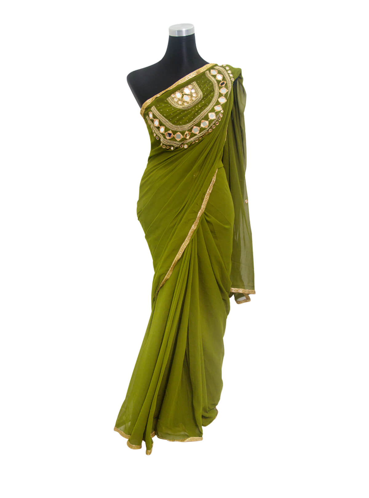 Army Green Karchupi Georgette Saree