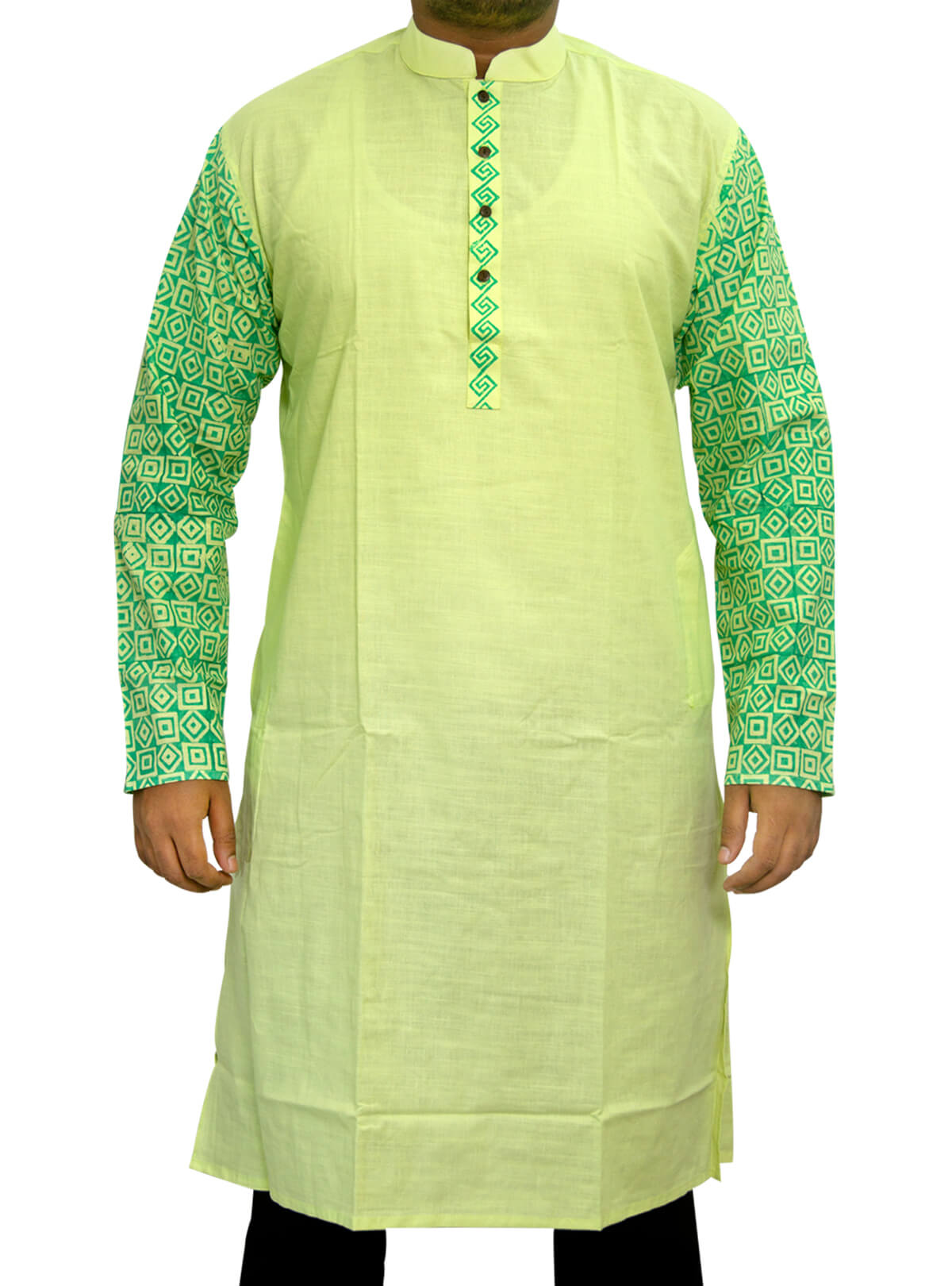 Coriander Green Cotton Panjabi