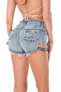 Lovebitebd Higt Waist Blue Denim Shorts Cotton Jeans For Women