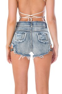 Lovebite Higt Waist Blue Denim Shorts Women Casual Pocket Cotton Jeans