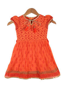 Crusta Orange Boyle Frock For Girls