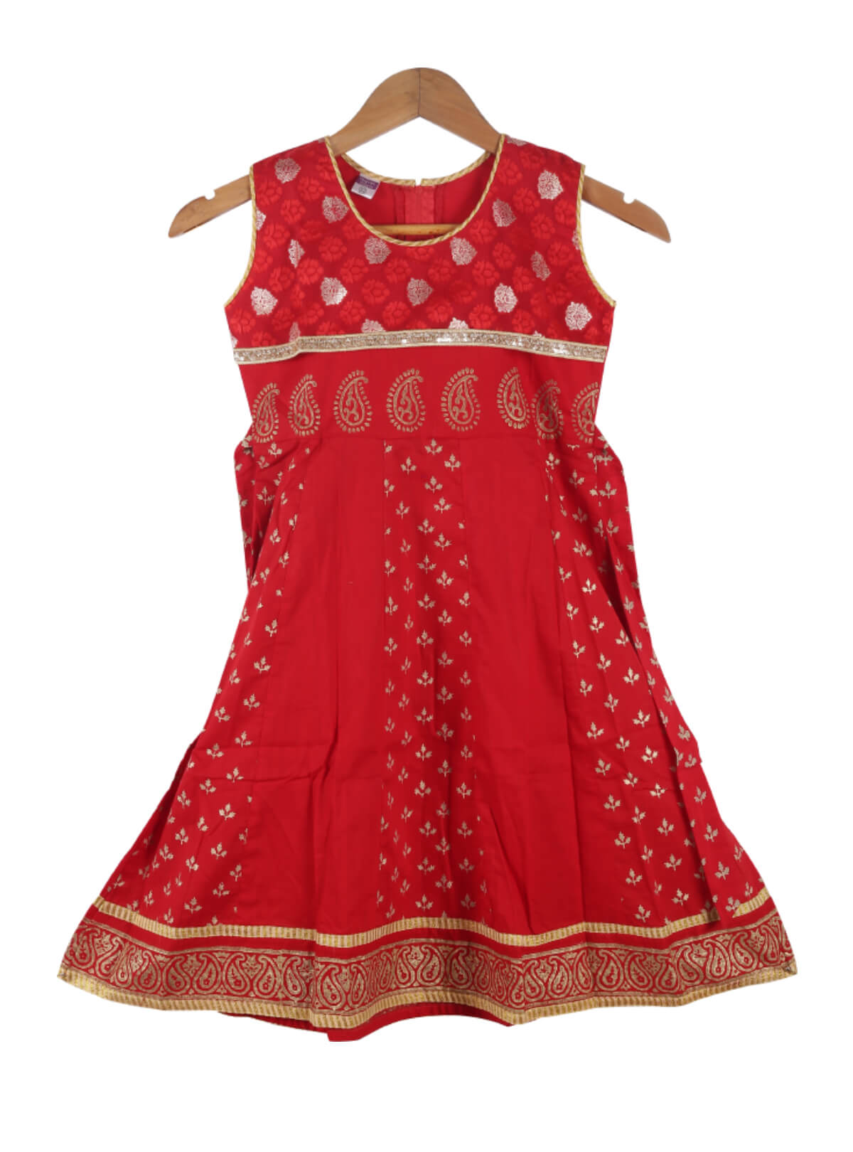 Red Cotton Frock For Girls