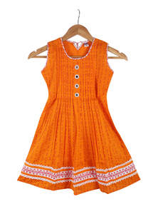 Carrot Orange Cotton Frock For Girls